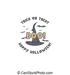 Halloween badge. Vintage hand drawn logo design. Monochrome style. Typography elements and Halloween symbols - hat and bats. Stock vector isolated on white background