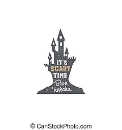 Halloween badge. Vintage hand drawn logo design. Monochrome style. Typography elements and Halloween symbol - horror castle. Stock vector isolated on white background