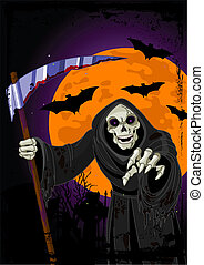 halloween, bakgrund, bister skördeman