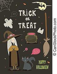 halloween, bakgrund, design., din, kort, lycklig