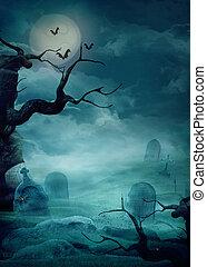 halloween, bakgrund, -, hemsökt av spöken, kyrkogård