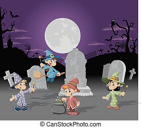 halloween, bakgrund, kyrkogård