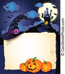 halloween, bakgrund, med, pergament