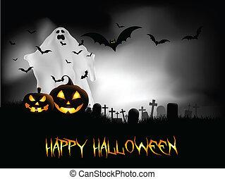 halloween, bakgrund, natt
