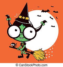 halloween, balai, voler, sorcière