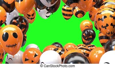 Halloween balloon frame on a green background 4k