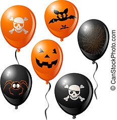 Halloween balloon set. Includes bat, skull, pumpkin, spider ...