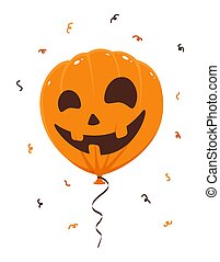 Halloween Balloon with Smile on White Background