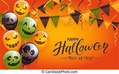 Halloween Balloons and Pennants on Orange Background