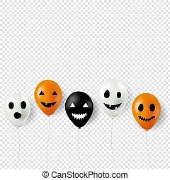 Halloween Balloons Border Transparent Background