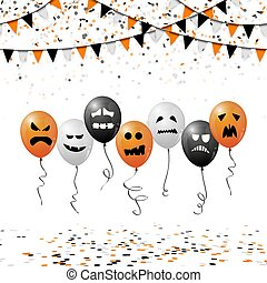 Halloween balloons, confetti and garlands