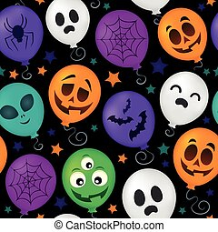 Halloween balloons seamless background 1