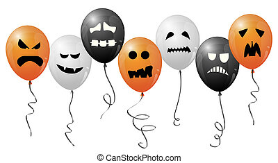 halloween balloons with different faces