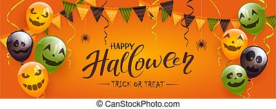 Halloween Balloons with Spiders and Pennants on Orange Background