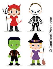halloween, bambini, costume