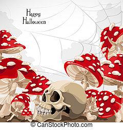 halloween, bandera, amanita, feliz