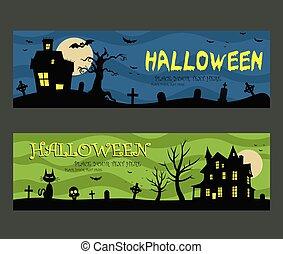 halloween, banderas, diseño, casa frecuentada