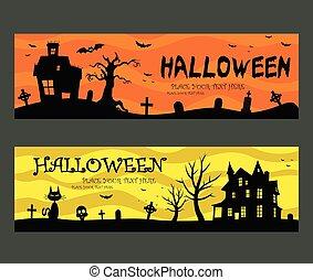 halloween, banderas, diseño
