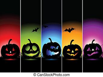 halloween, banderas, para, su, diseño