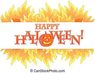 halloween, bandiera, fuoco, illustrazione