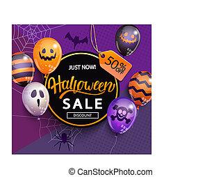 halloween., baner, rabatt, försäljning