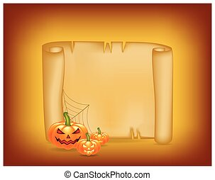 Halloween banner, card with empty paper scroll and pumpkin. Blank ancient scroll of parchment wallpaper, background. Poster or brochure for Halloween party. Vector illustration.