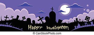 Halloween Banner Cemetery Graveyard Card