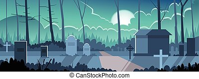 Halloween Banner Cemetery Graveyard Grave Stone Night
