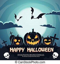 Halloween Banner Cemetery Graveyard Party Invitation Card Pumpkin Face