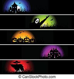 halloween, banner, design, dein