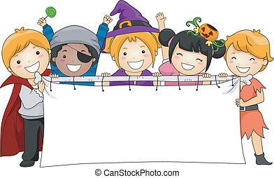 Halloween Banner - Illustration of Kids Holding a Blank...