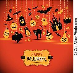 Halloween banner on orange background. Invitation to night party