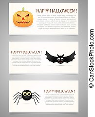 Halloween banner set with pumpkin, flying bat and spider.