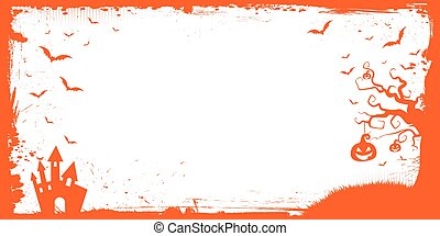 Halloween banner template with pumpkin, scary house, flying bat border