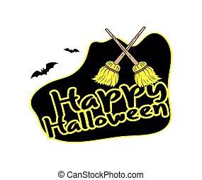 Halloween Banner with Broom Vector