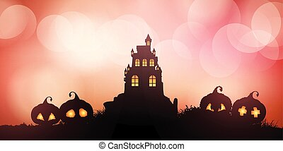 halloween banner with castle and pumpkins 0209