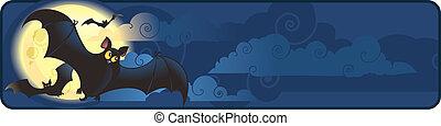 halloween banner with flying bats - Halloween vector ...