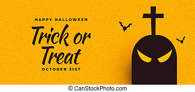halloween banner with ghost and scary bats