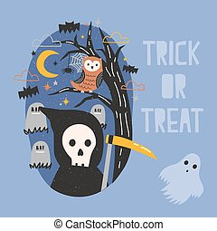 Halloween banner with Grim Reaper holding scythe, ghost, owl sitting on tree branch against graves on cemetery and starry night sky on background. Trick or treat. Cartoon festive vector illustration.