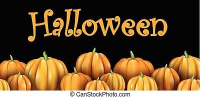 Halloween banner with orange 3d pumpkins.