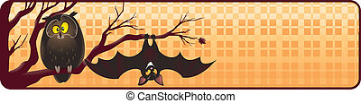 Halloween banner with owl and bat