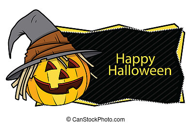 Halloween Banner with Pumpkin - Drawing Art of Happy...