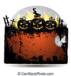 Halloween banner with pumpkin - Halloween banner with...
