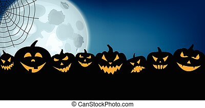 Halloween banner with pumpkins and moon. - Blue halloween...