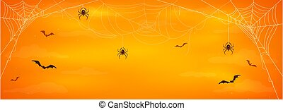Halloween Banner with Spiders and Bats on Orange Background