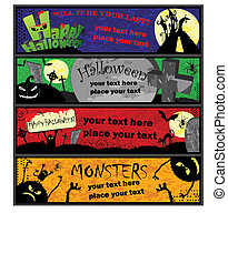 4 horizontal halloween banner templates in different colors