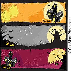 Set of grunge halloween banners.
