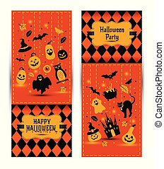 Halloween banners set on colors background. Invitation to night