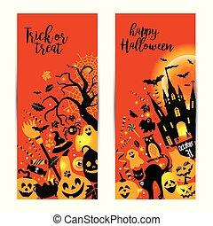 Halloween banners set on orange background. Invitation to night