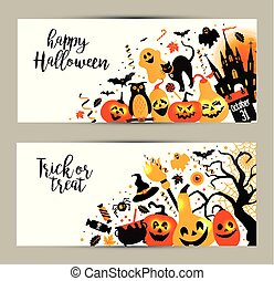Halloween banners set on white background. Invitation to night p